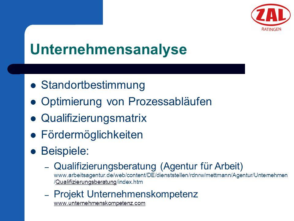 Unternehmensanalyse Standortbestimmung Optimierung von Prozessabläufen Qualifizierungsmatrix Fördermöglichkeiten Beispiele: – Qualifizierungsberatung
