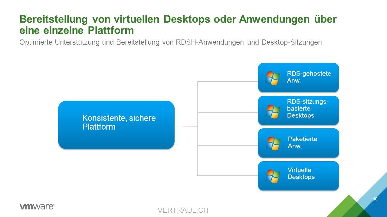 Bereitstellung von virtuellen Desktops oder Anwendungen über eine einzelne Plattform VERTRAULICH 16 Optimierte Unterstützung und Bereitstellung von RD