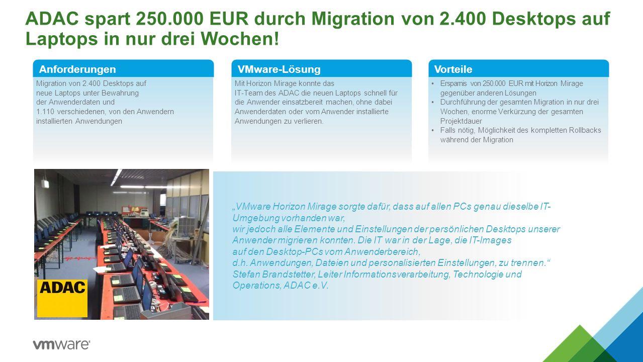 ADAC spart 250.000 EUR durch Migration von 2.400 Desktops auf Laptops in nur drei Wochen! Migration von 2.400 Desktops auf neue Laptops unter Bewahrun
