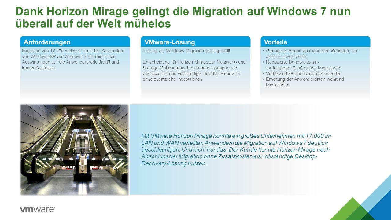 Dank Horizon Mirage gelingt die Migration auf Windows 7 nun überall auf der Welt mühelos Migration von 17.000 weltweit verteilten Anwendern von Window