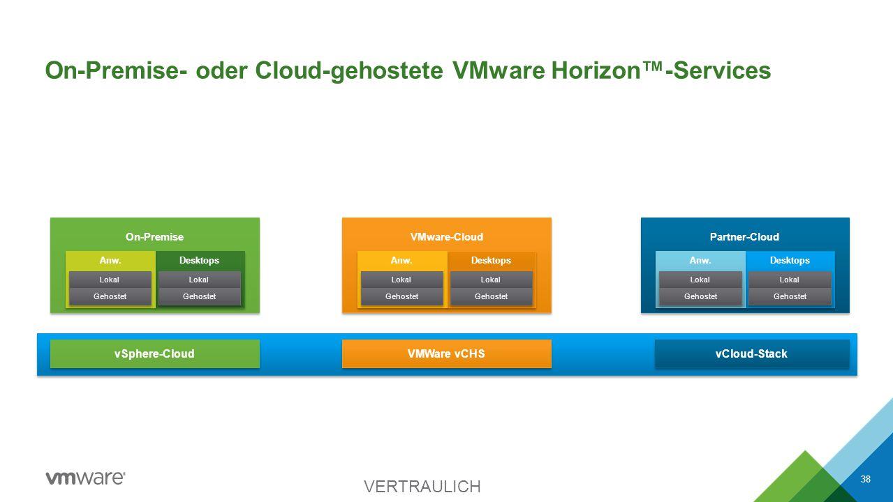 On-Premise- oder Cloud-gehostete VMware Horizon™-Services VERTRAULICH 38 vSphere-Cloud VMWare vCHS vCloud-Stack Veröffentlicht Gehostet Partner-Cloud