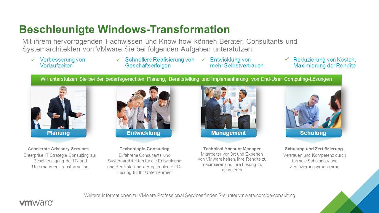 Beschleunigte Windows-Transformation EntwicklungManagementSchulungPlanung Weitere Informationen zu VMware Professional Services finden Sie unter vmwar