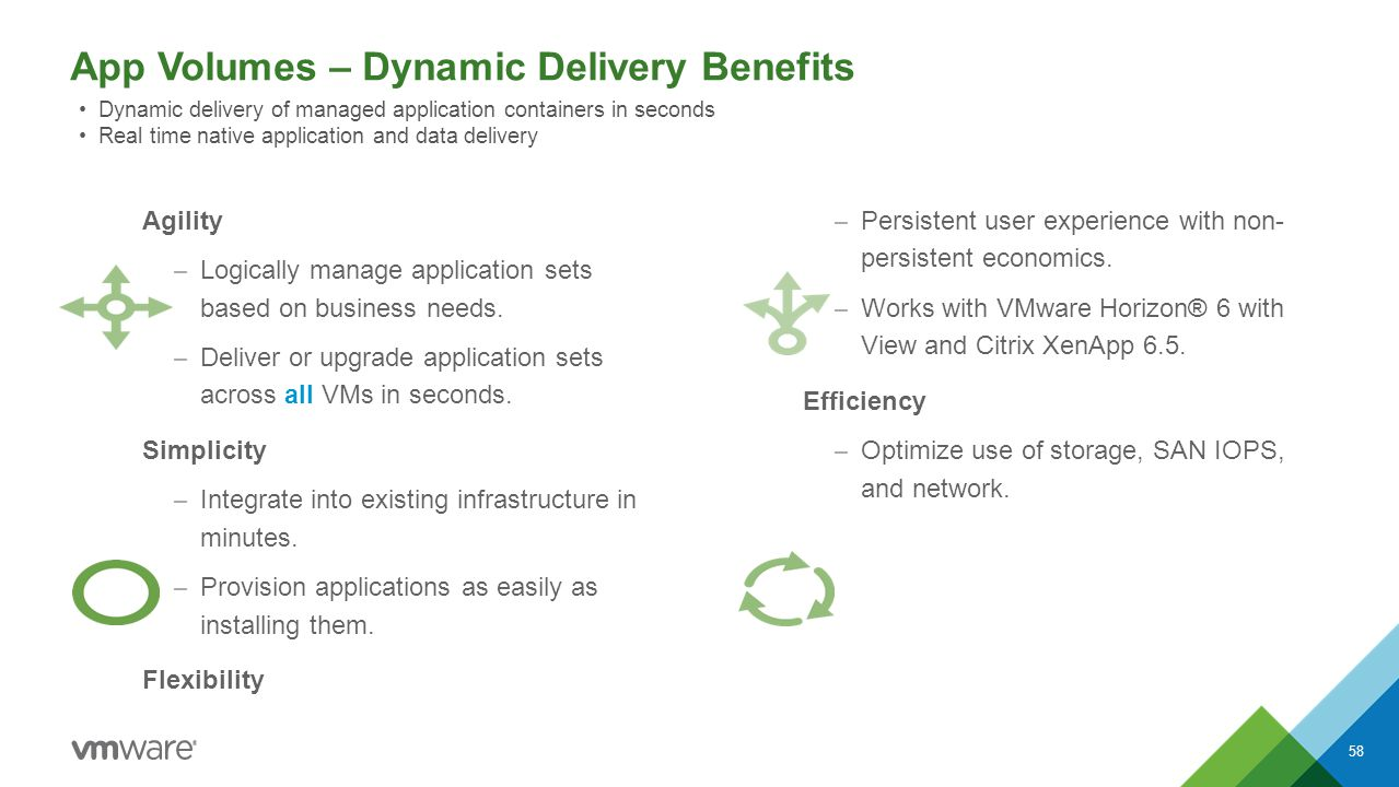 App Volumes – Dynamic Delivery Benefits 58 Agility – Logically manage application sets based on business needs. – Deliver or upgrade application sets
