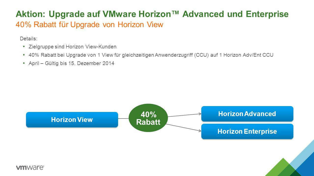 Aktion: Upgrade auf VMware Horizon™ Advanced und Enterprise Details: Zielgruppe sind Horizon View-Kunden 40% Rabatt bei Upgrade von 1 View für gleichz
