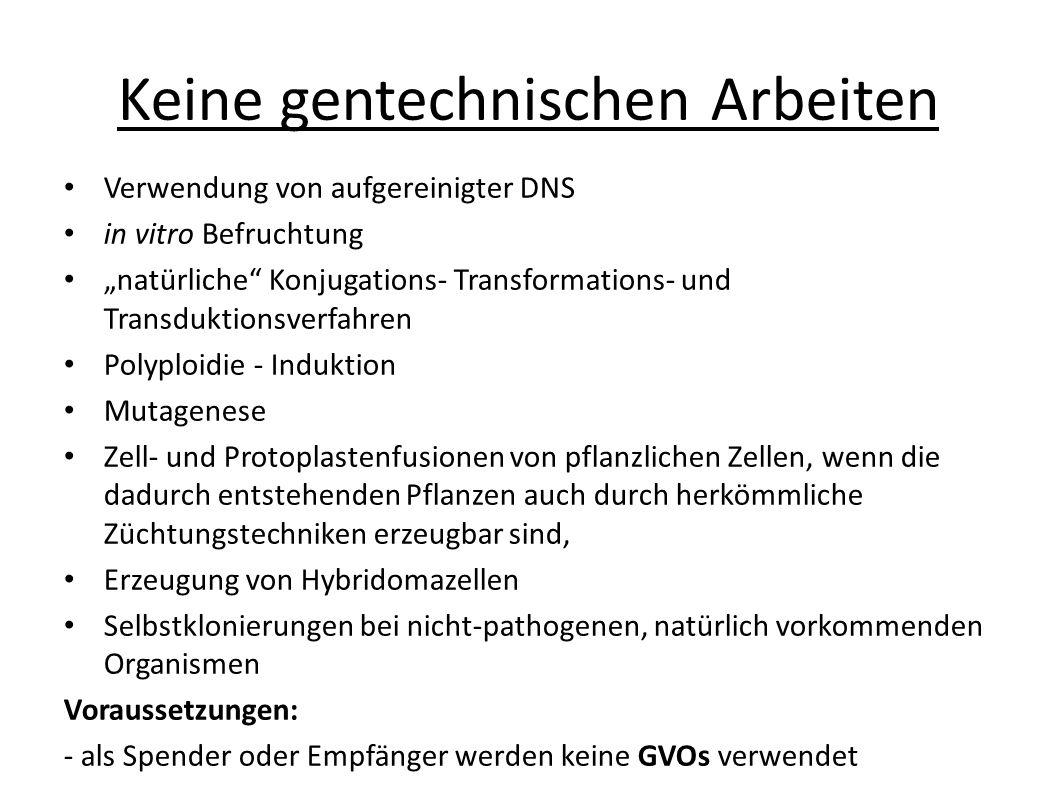 """Keine gentechnischen Arbeiten Verwendung von aufgereinigter DNS in vitro Befruchtung """"natürliche"""" Konjugations- Transformations- und Transduktionsverf"""