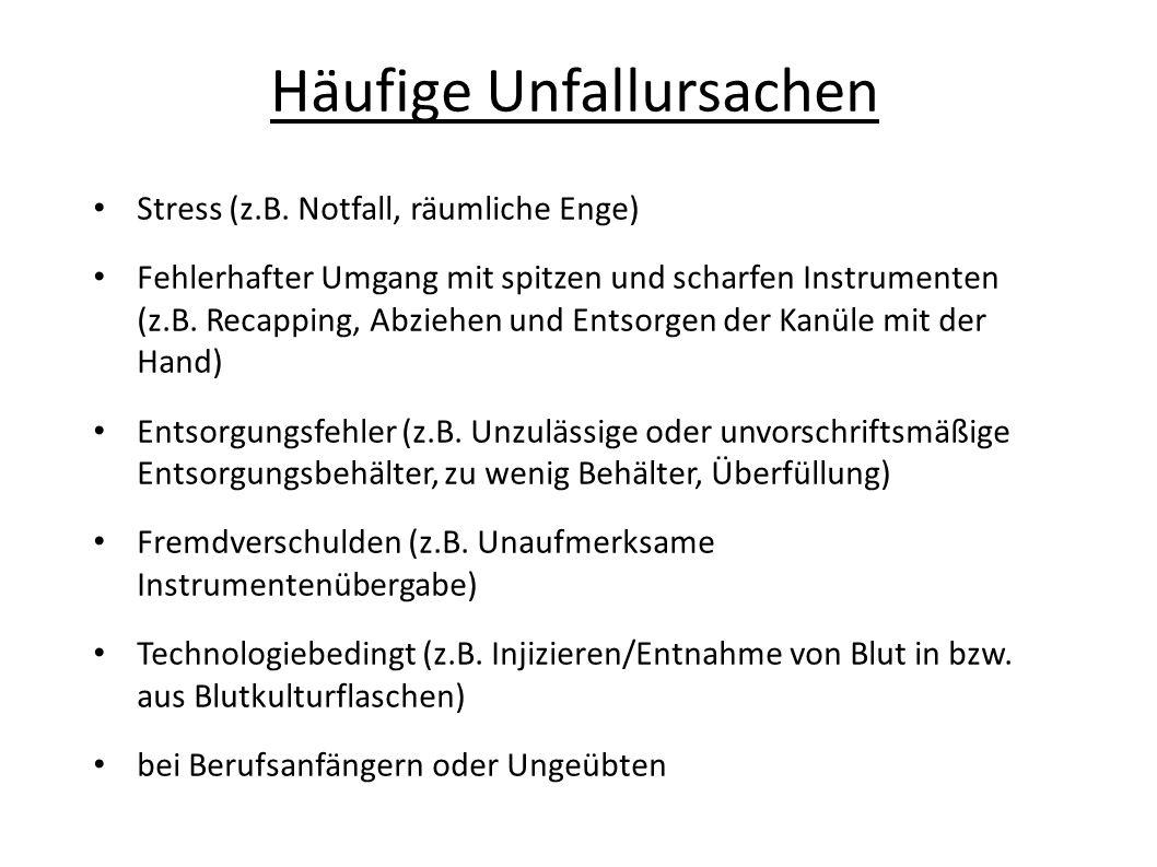 Häufige Unfallursachen Stress (z.B. Notfall, räumliche Enge) Fehlerhafter Umgang mit spitzen und scharfen Instrumenten (z.B. Recapping, Abziehen und E