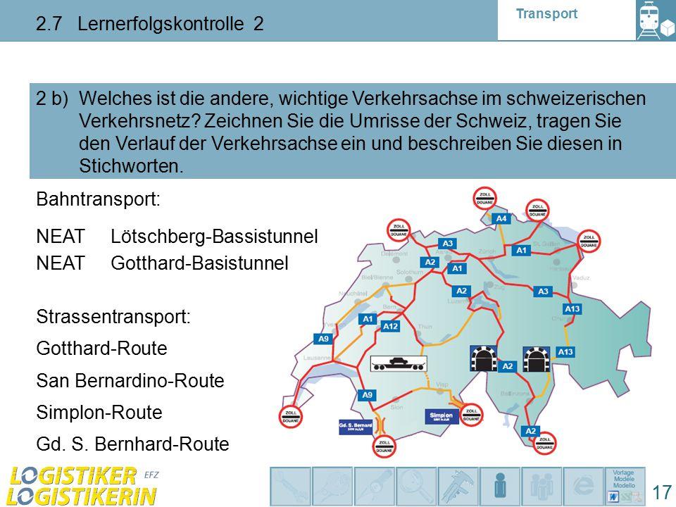 Transport 2.7 Lernerfolgskontrolle 2 17 2 b) Welches ist die andere, wichtige Verkehrsachse im schweizerischen Verkehrsnetz? Zeichnen Sie die Umrisse