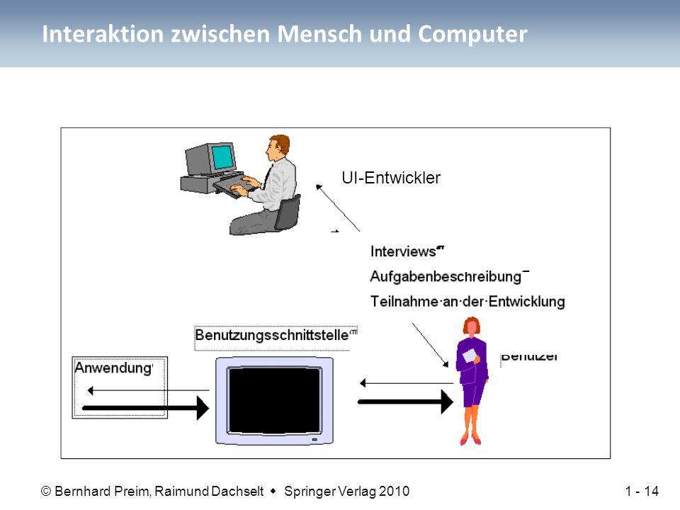 © Bernhard Preim, Raimund Dachselt  Springer Verlag 2010 Interaktion zwischen Mensch und Computer 1 - 14 UI-Entwickler