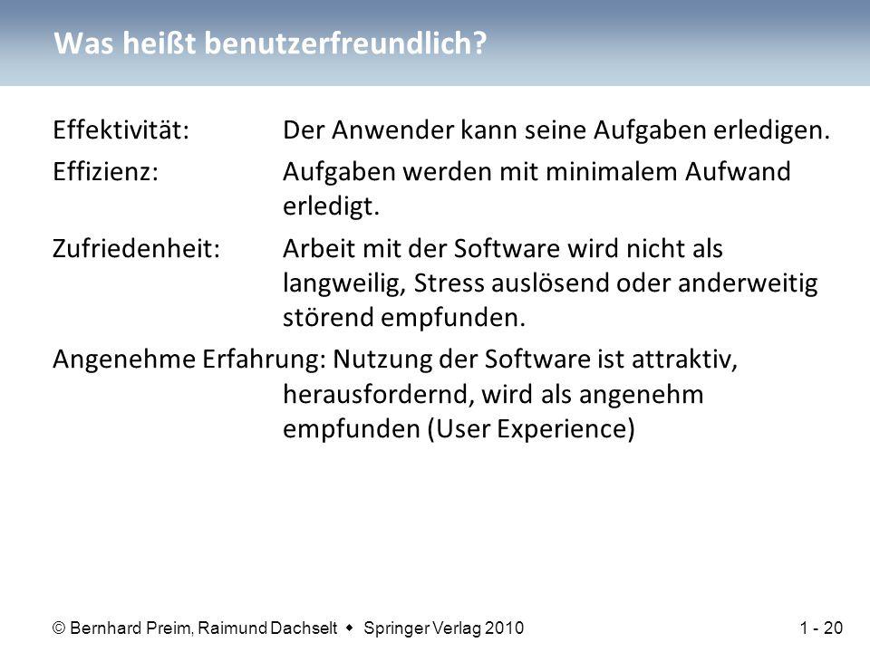 © Bernhard Preim, Raimund Dachselt  Springer Verlag 2010 Was heißt benutzerfreundlich.