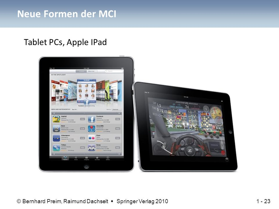 © Bernhard Preim, Raimund Dachselt  Springer Verlag 2010 Neue Formen der MCI Tablet PCs, Apple IPad 1 - 23