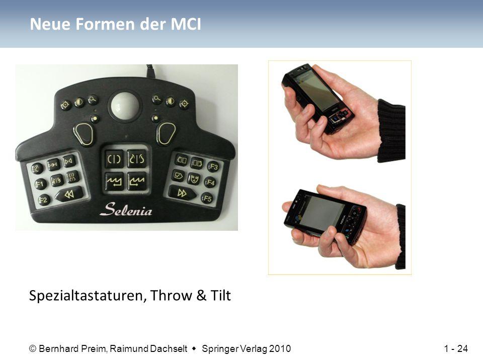 © Bernhard Preim, Raimund Dachselt  Springer Verlag 2010 Neue Formen der MCI Spezialtastaturen, Throw & Tilt 1 - 24