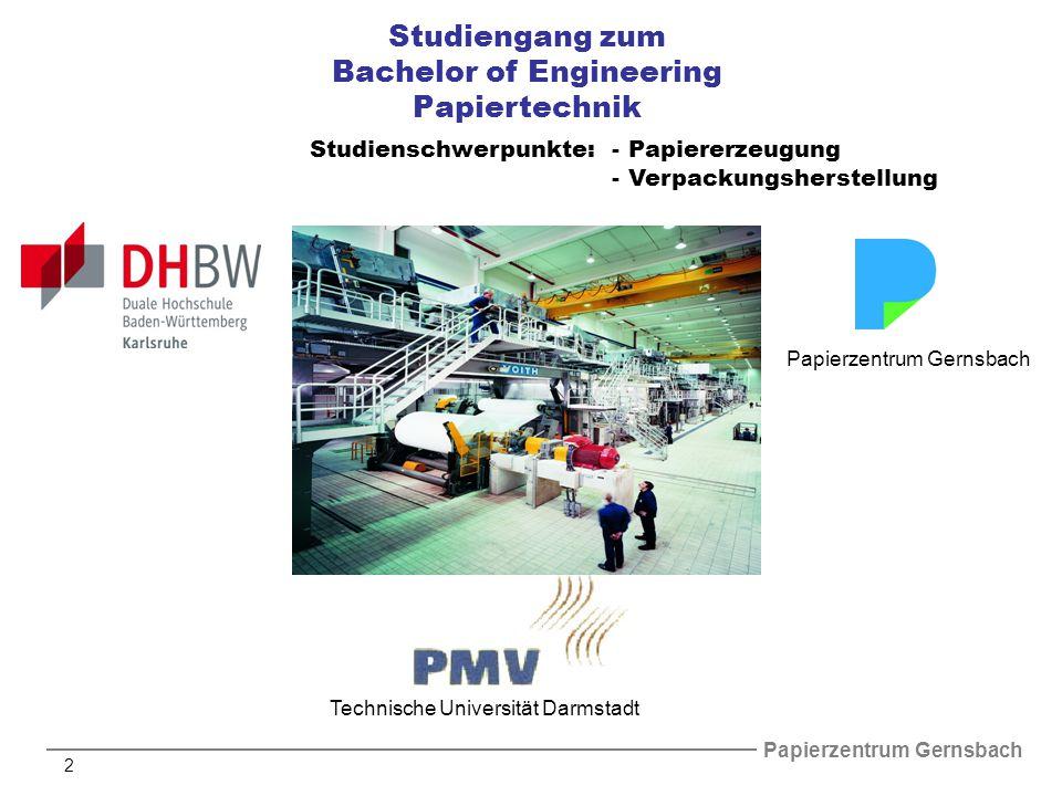 Papierzentrum Gernsbach 2 Studiengang zum Bachelor of Engineering Papiertechnik Technische Universität Darmstadt Papierzentrum Gernsbach Studienschwerpunkte:- Papiererzeugung -Verpackungsherstellung