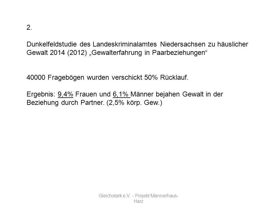 """Gleichstark e.V. - Projekt Männerhaus- Harz 2. Dunkelfeldstudie des Landeskriminalamtes Niedersachsen zu häuslicher Gewalt 2014 (2012) """"Gewalterfahrun"""
