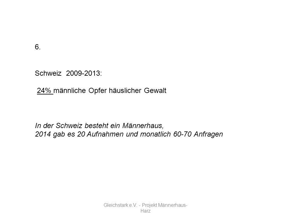 Gleichstark e.V. - Projekt Männerhaus- Harz 6. Schweiz 2009-2013: 24% männliche Opfer häuslicher Gewalt In der Schweiz besteht ein Männerhaus, 2014 ga