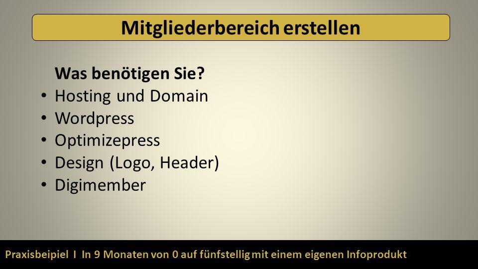 Praxisbeipiel I In 9 Monaten von 0 auf fünfstellig mit einem eigenen Infoprodukt Mitgliederbereich erstellen Was benötigen Sie? Hosting und Domain Wor
