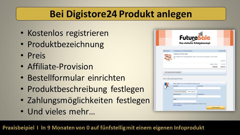 Praxisbeipiel I In 9 Monaten von 0 auf fünfstellig mit einem eigenen Infoprodukt Bei Digistore24 Produkt anlegen Kostenlos registrieren Produktbezeich