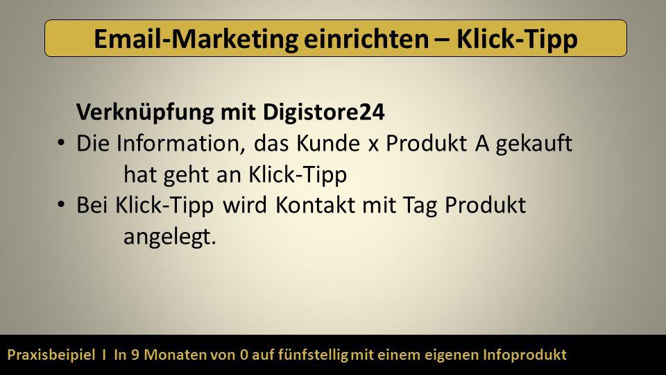 Praxisbeipiel I In 9 Monaten von 0 auf fünfstellig mit einem eigenen Infoprodukt Email-Marketing einrichten – Klick-Tipp Verknüpfung mit Digistore24 D