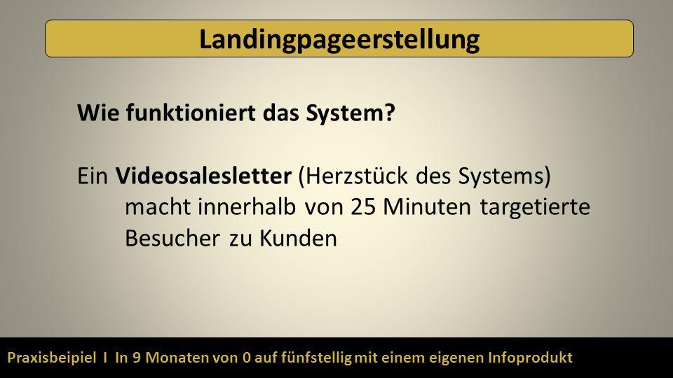 Praxisbeipiel I In 9 Monaten von 0 auf fünfstellig mit einem eigenen Infoprodukt Landingpageerstellung Wie funktioniert das System? Ein Videosaleslett