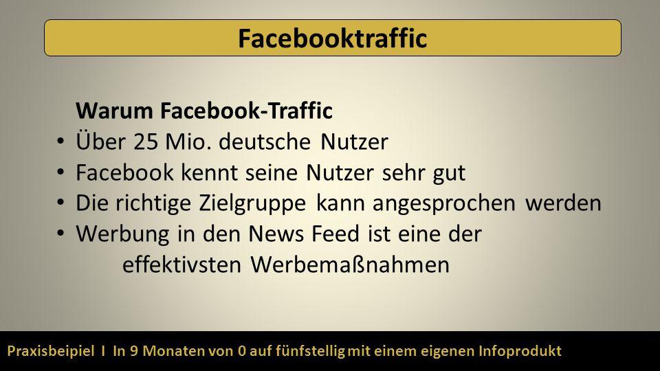 Praxisbeipiel I In 9 Monaten von 0 auf fünfstellig mit einem eigenen Infoprodukt Facebooktraffic Warum Facebook-Traffic Über 25 Mio. deutsche Nutzer F