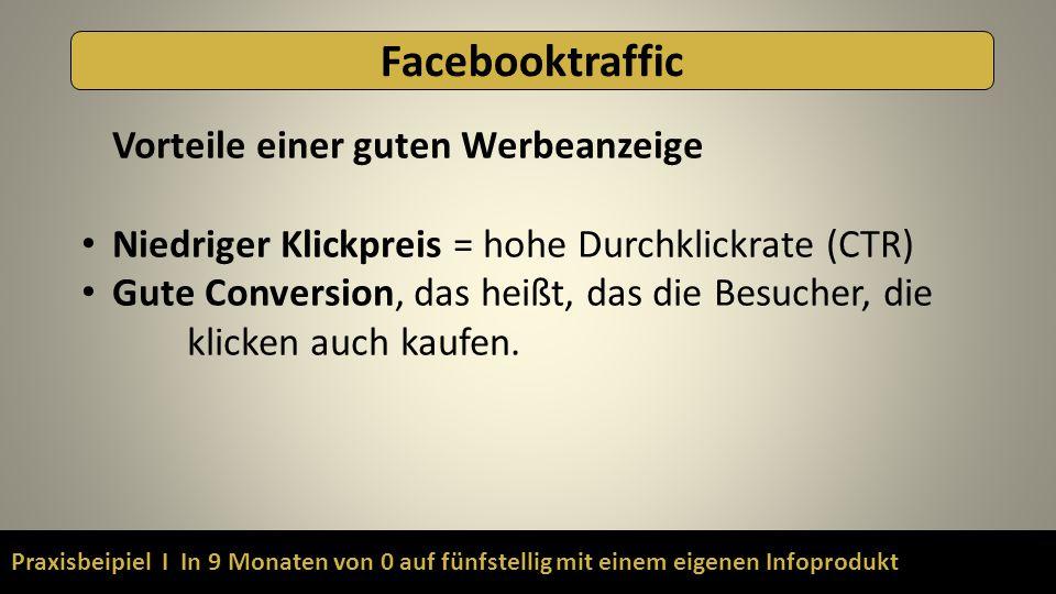 Praxisbeipiel I In 9 Monaten von 0 auf fünfstellig mit einem eigenen Infoprodukt Facebooktraffic Vorteile einer guten Werbeanzeige Niedriger Klickpreis = hohe Durchklickrate (CTR) Gute Conversion, das heißt, das die Besucher, die klicken auch kaufen.