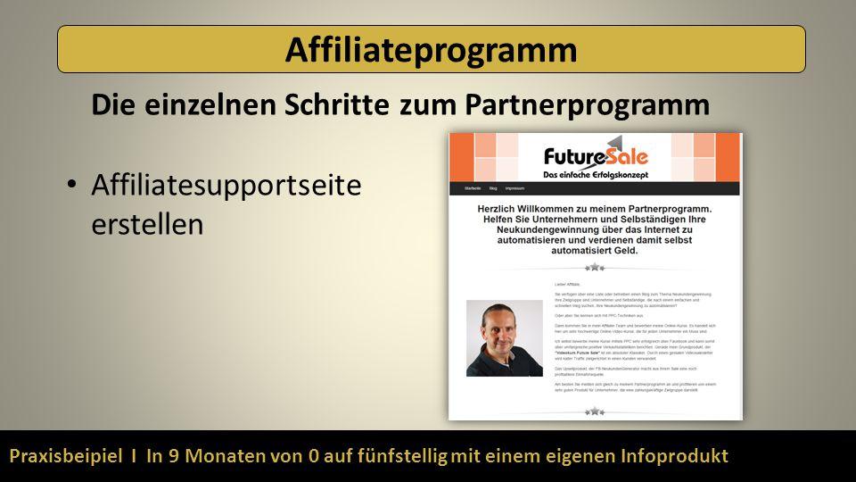 Praxisbeipiel I In 9 Monaten von 0 auf fünfstellig mit einem eigenen Infoprodukt Affiliateprogramm Die einzelnen Schritte zum Partnerprogramm Affiliat
