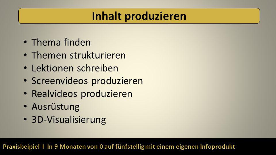 Praxisbeipiel I In 9 Monaten von 0 auf fünfstellig mit einem eigenen Infoprodukt Inhalt produzieren Thema finden Themen strukturieren Lektionen schreiben Screenvideos produzieren Realvideos produzieren Ausrüstung 3D-Visualisierung