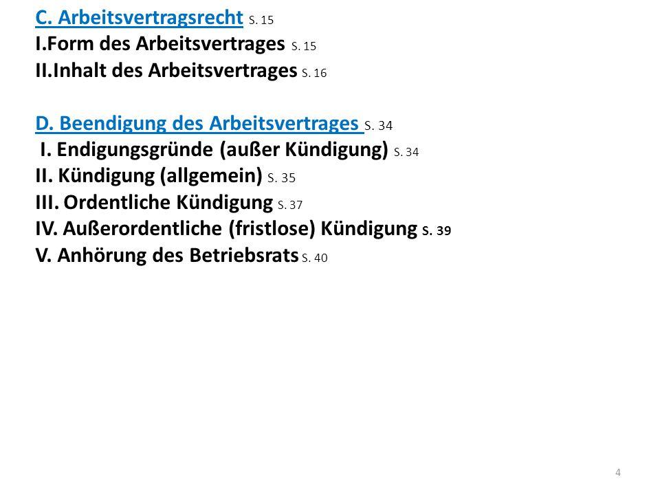E.Kündigungsschutz S. 43 I. allgemeiner und besondere Kündigungsschutz S.