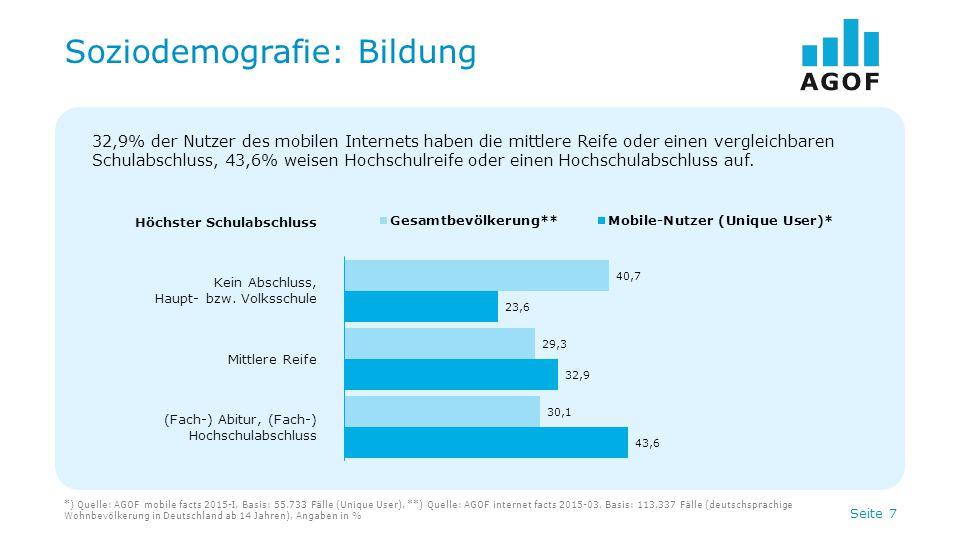 Seite 8 Soziodemografie: Tätigkeit *) Quelle: AGOF mobile facts 2015-I, Basis: 55.733 Fälle (Unique User), **) Quelle: AGOF internet facts 2015-03, Basis: 113.337 Fälle (deutschsprachige Wohnbevölkerung in Deutschland ab 14 Jahren), Angaben in % Tätigkeit In Ausbildung Berufstätig Rentner, Pensionär/Nicht berufstätig 18,6% der Nutzer des mobilen Internets sind Schüler, Studenten oder befinden sich in der Ausbildung, 67,9% sind berufstätig.