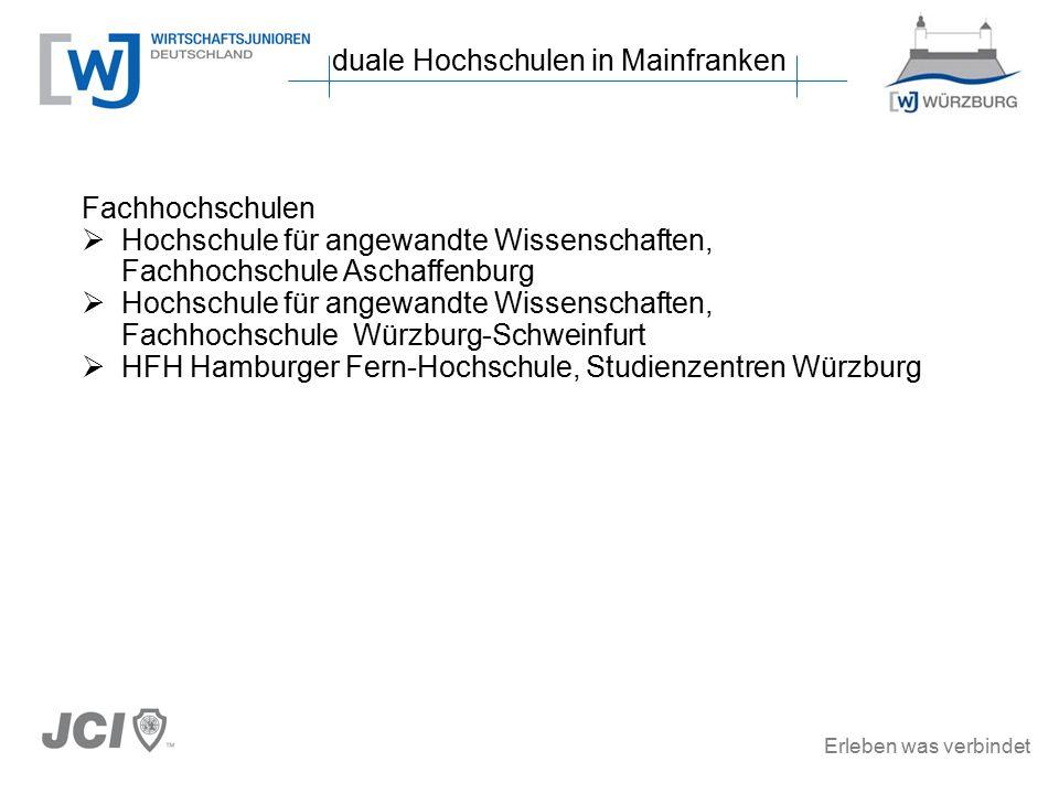 Erleben was verbindet duale Hochschulen in Mainfranken Fachhochschulen  Hochschule für angewandte Wissenschaften, Fachhochschule Aschaffenburg  Hochschule für angewandte Wissenschaften, Fachhochschule Würzburg-Schweinfurt  HFH Hamburger Fern-Hochschule, Studienzentren Würzburg