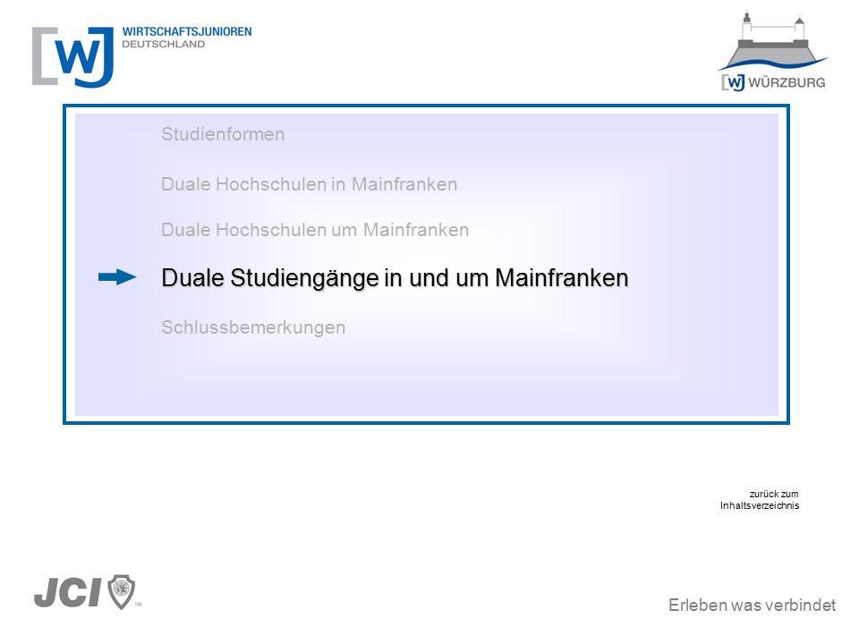 Erleben was verbindet Studienformen Duale Hochschulen in Mainfranken Duale Hochschulen um Mainfranken Duale Studiengänge in und um Mainfranken Schlussbemerkungen zurück zum Inhaltsverzeichnis