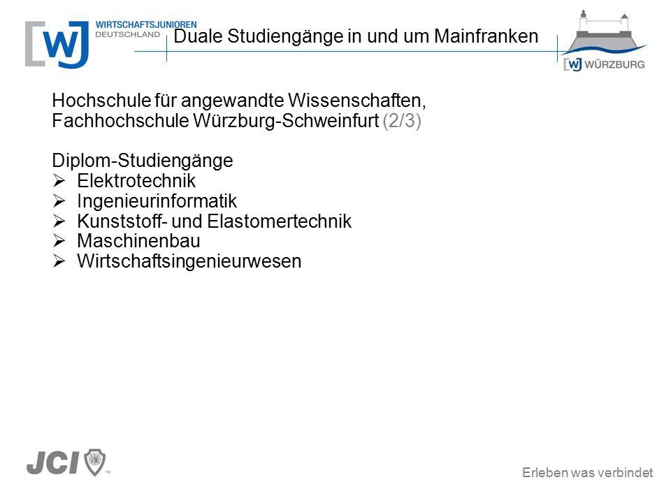 Erleben was verbindet Hochschule für angewandte Wissenschaften, Fachhochschule Würzburg-Schweinfurt (2/3) Diplom-Studiengänge  Elektrotechnik  Ingenieurinformatik  Kunststoff- und Elastomertechnik  Maschinenbau  Wirtschaftsingenieurwesen Duale Studiengänge in und um Mainfranken