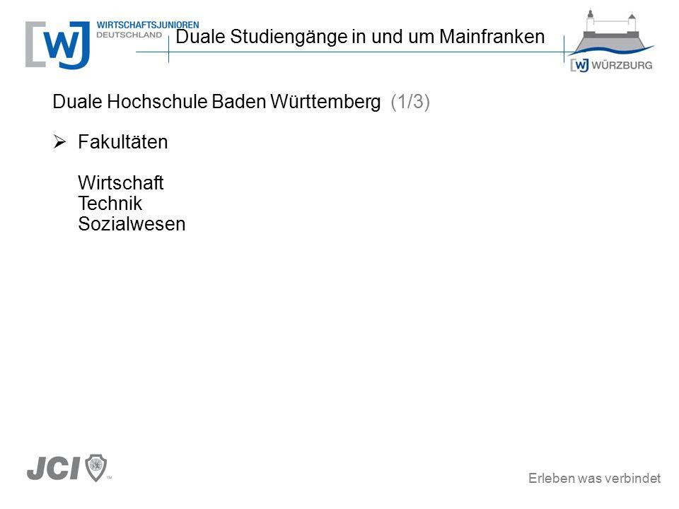 Erleben was verbindet Duale Hochschule Baden Württemberg (1/3)  Fakultäten Wirtschaft Technik Sozialwesen Duale Studiengänge in und um Mainfranken