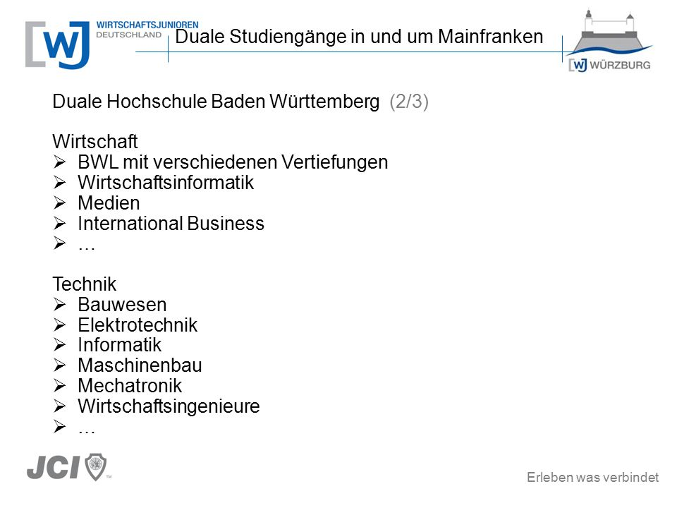 Erleben was verbindet Duale Hochschule Baden Württemberg (2/3) Wirtschaft  BWL mit verschiedenen Vertiefungen  Wirtschaftsinformatik  Medien  International Business  … Technik  Bauwesen  Elektrotechnik  Informatik  Maschinenbau  Mechatronik  Wirtschaftsingenieure  … Duale Studiengänge in und um Mainfranken