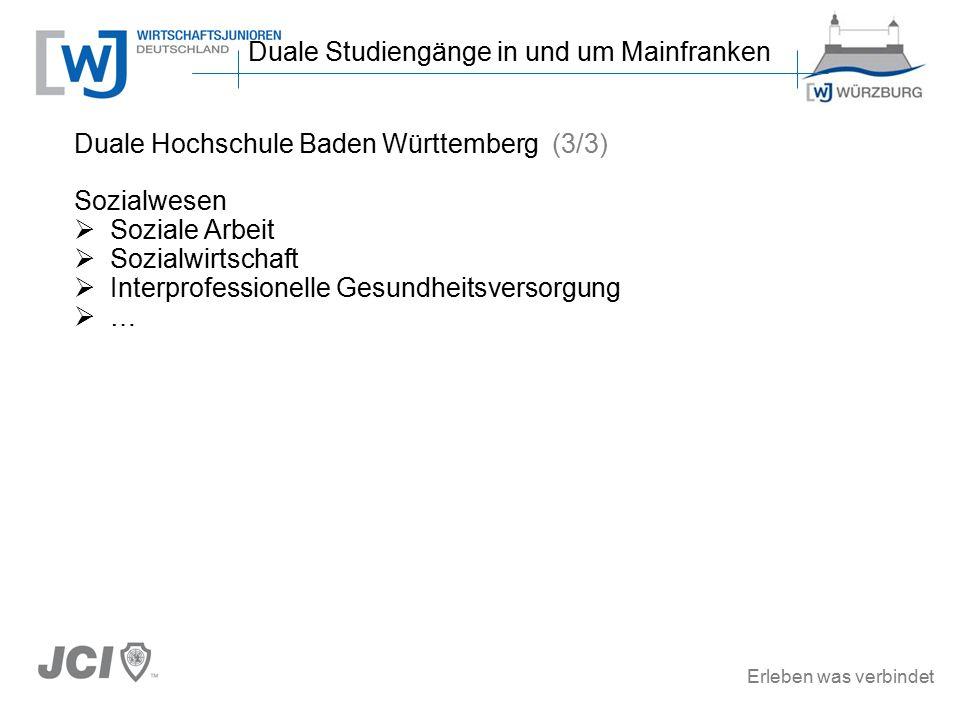 Erleben was verbindet Duale Hochschule Baden Württemberg (3/3) Sozialwesen  Soziale Arbeit  Sozialwirtschaft  Interprofessionelle Gesundheitsversorgung  … Duale Studiengänge in und um Mainfranken
