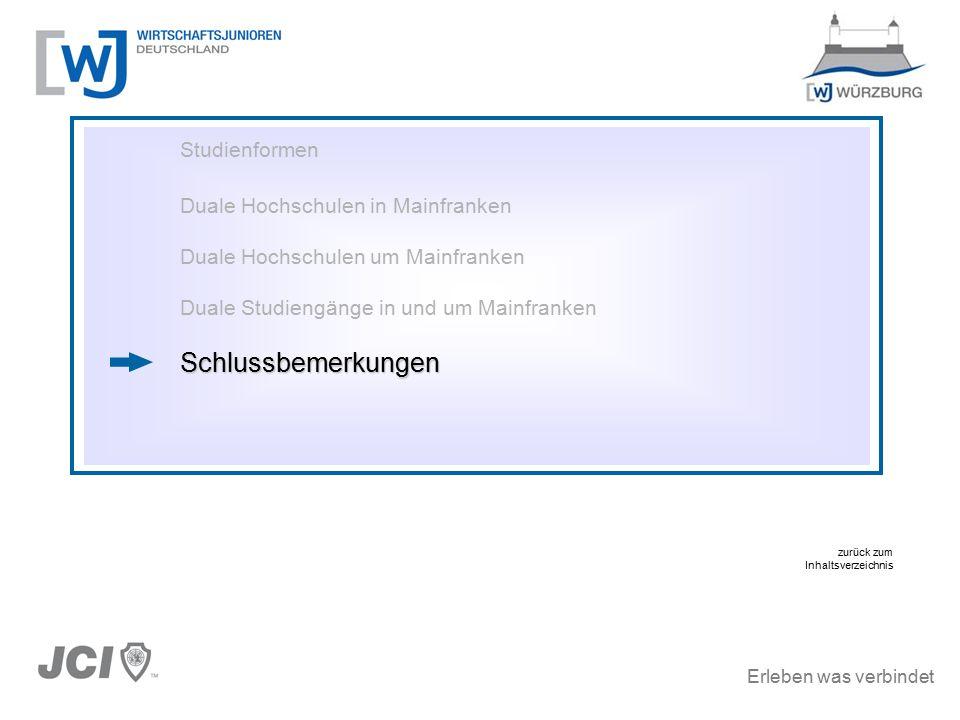 Erleben was verbindet Studienformen Duale Hochschulen in Mainfranken Duale Hochschulen um Mainfranken Duale Studiengänge in und um MainfrankenSchlussbemerkungen zurück zum Inhaltsverzeichnis