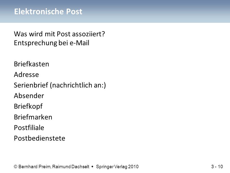 © Bernhard Preim, Raimund Dachselt  Springer Verlag 2010 Was wird mit Post assoziiert? Entsprechung bei e-Mail Briefkasten Adresse Serienbrief (nachr