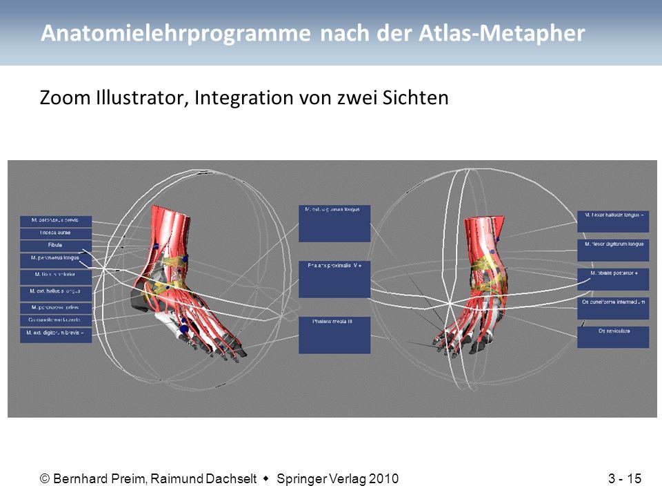© Bernhard Preim, Raimund Dachselt  Springer Verlag 2010 Zoom Illustrator, Integration von zwei Sichten Anatomielehrprogramme nach der Atlas-Metapher