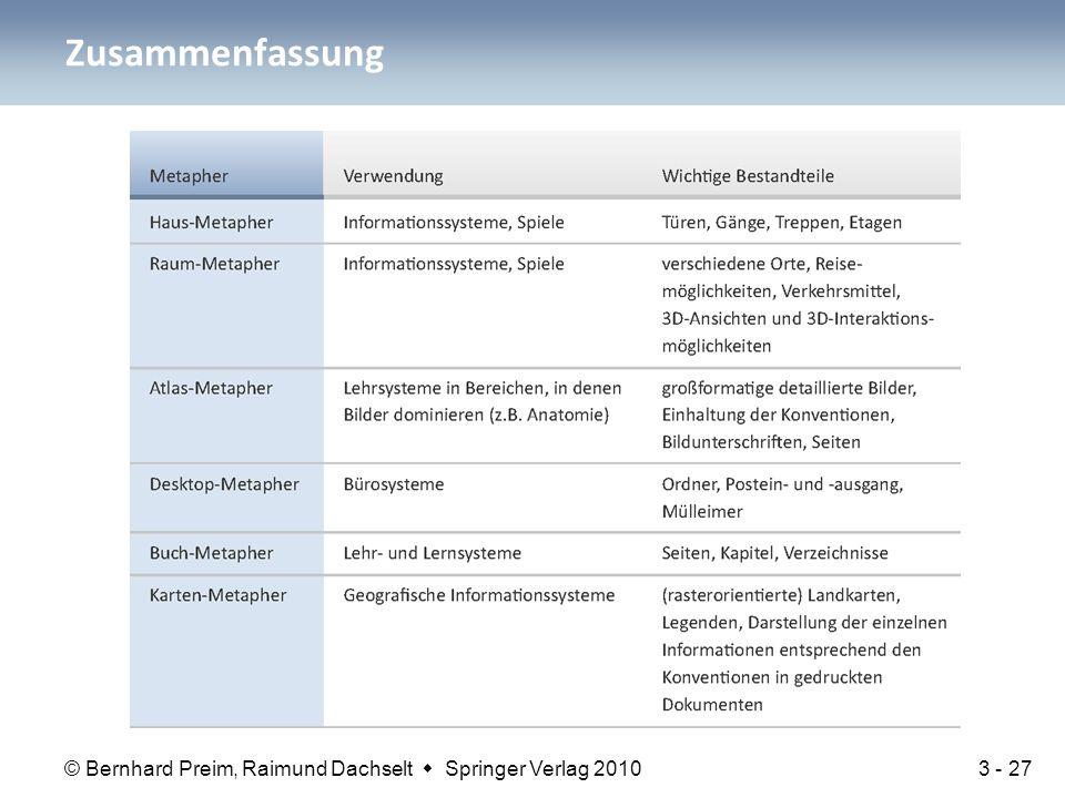 © Bernhard Preim, Raimund Dachselt  Springer Verlag 2010 Zusammenfassung 3 - 27