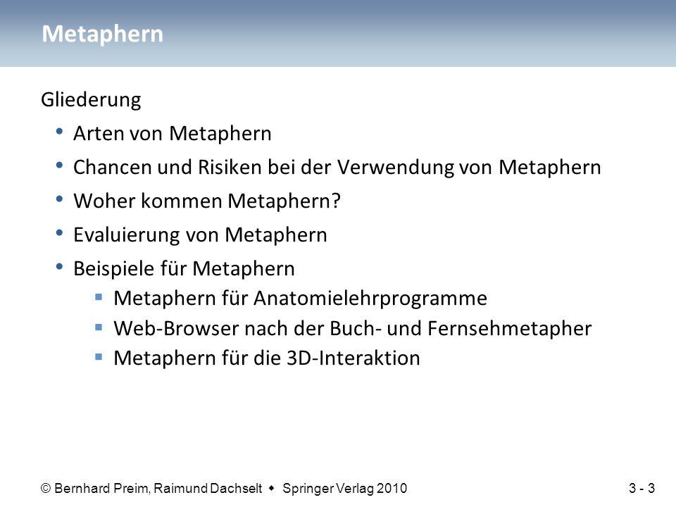 © Bernhard Preim, Raimund Dachselt  Springer Verlag 2010 Gliederung Arten von Metaphern Chancen und Risiken bei der Verwendung von Metaphern Woher ko