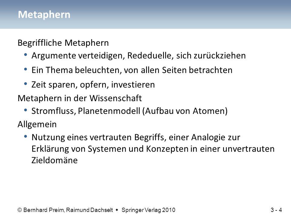 © Bernhard Preim, Raimund Dachselt  Springer Verlag 2010 Begriffliche Metaphern Argumente verteidigen, Rededuelle, sich zurückziehen Ein Thema beleuc