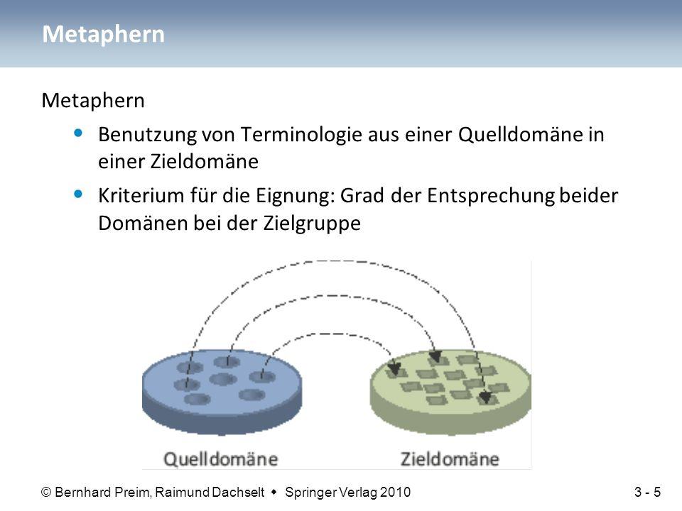 © Bernhard Preim, Raimund Dachselt  Springer Verlag 2010 Metaphern können: Entwickler inspirieren und motivieren Anwendern den Einstieg erleichtern Metaphern können aber auch: den Blick für neue Möglichkeiten versperren die effiziente Nutzung eines Systems durch den Anwender erschweren Zusammenfassung 3 - 26