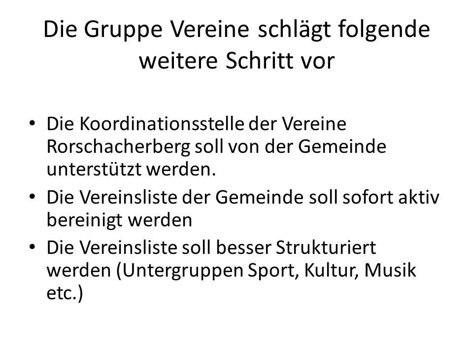 Die Gruppe Vereine schlägt folgende weitere Schritt vor Die Koordinationsstelle der Vereine Rorschacherberg soll von der Gemeinde unterstützt werden.