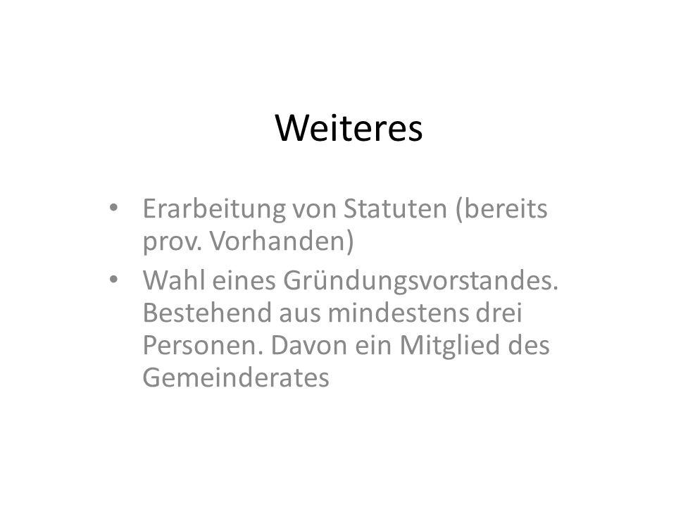Weiteres Erarbeitung von Statuten (bereits prov. Vorhanden) Wahl eines Gründungsvorstandes.