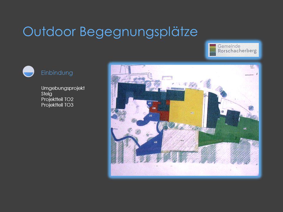 Outdoor Begegnungsplätze Umgebungsprojekt Steig Projektteil TO2 Projektteil TO3 Einbindung