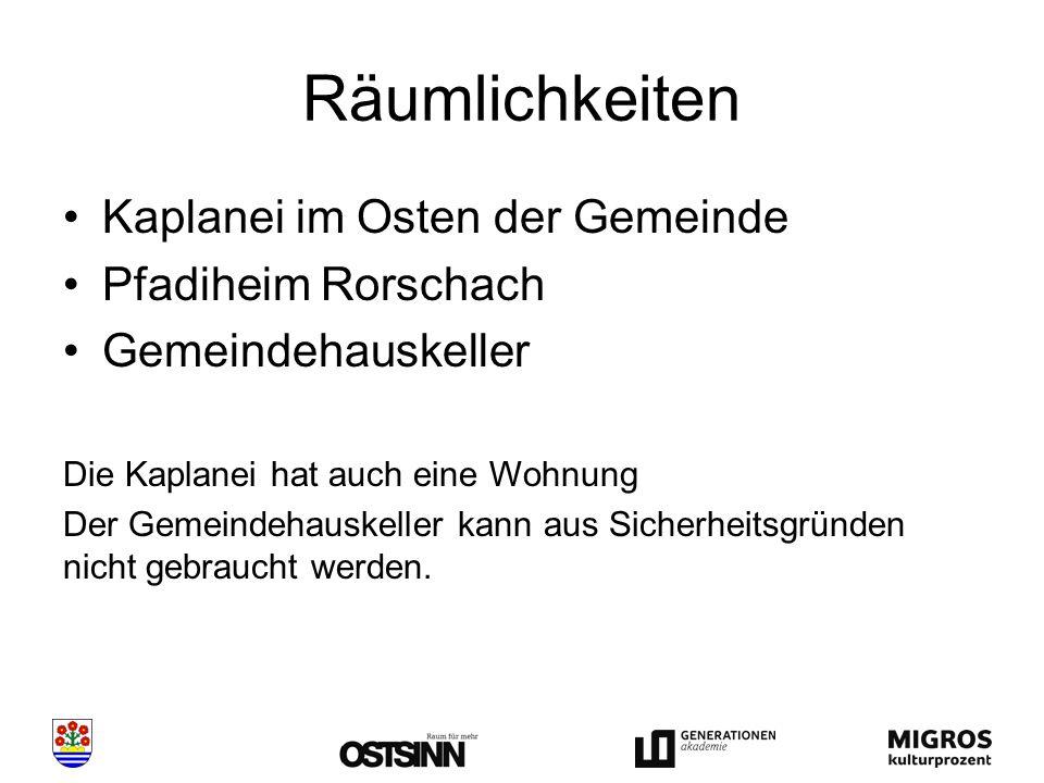 Räumlichkeiten Kaplanei im Osten der Gemeinde Pfadiheim Rorschach Gemeindehauskeller Die Kaplanei hat auch eine Wohnung Der Gemeindehauskeller kann aus Sicherheitsgründen nicht gebraucht werden.