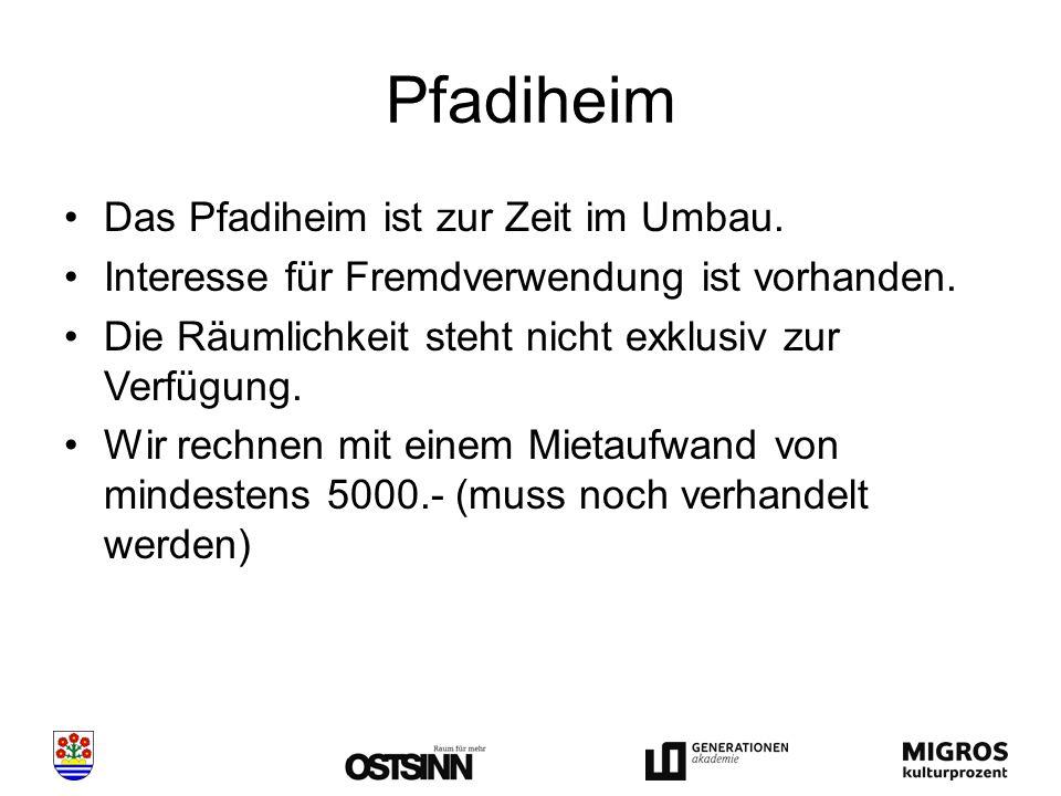 Pfadiheim Das Pfadiheim ist zur Zeit im Umbau. Interesse für Fremdverwendung ist vorhanden.