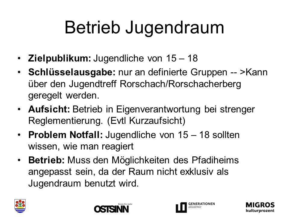 Betrieb Jugendraum Zielpublikum: Jugendliche von 15 – 18 Schlüsselausgabe: nur an definierte Gruppen -- >Kann über den Jugendtreff Rorschach/Rorschacherberg geregelt werden.