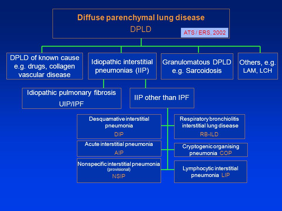DPLD of known cause e.g. drugs, collagen vascular disease Idiopathic interstitial pneumonias (IIP) Granulomatous DPLD e.g. Sarcoidosis Others, e.g. LA
