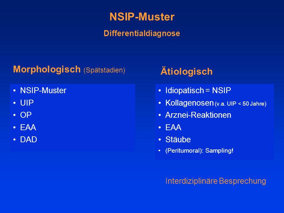 NSIP-Muster Differentialdiagnose NSIP-Muster UIP OP EAA DAD Morphologisch (Spätstadien) Ätiologisch Idiopatisch = NSIP Kollagenosen (v.a. UIP < 50 Jah