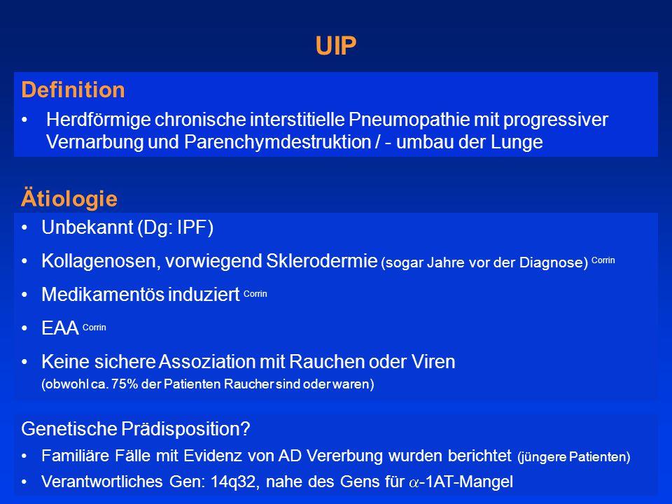 Unbekannt (Dg: IPF) Kollagenosen, vorwiegend Sklerodermie (sogar Jahre vor der Diagnose) Corrin Medikamentös induziert Corrin EAA Corrin Keine sichere Assoziation mit Rauchen oder Viren (obwohl ca.